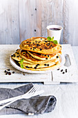 Almond pancakes with aronia berries (low GL)