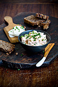 Low GL obatzda (Bavarian cheese spread) with radish
