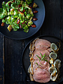 Veal fricandeau with a Brussels sprouts salad (France)