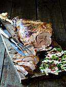 Roast leg of lamb with a pointed cabbage salad