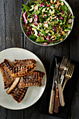 Spare ribs with a mixed leaf salad