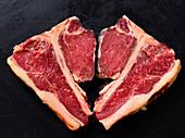 Two T-bone veal steaks