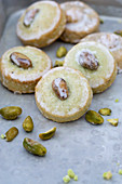 Iced pistachio biscuits