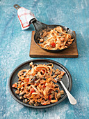 Sweet potato pasta with an aubergine sauce