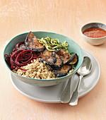 Zoodle bowl with cauliflower rice and teriyaki aubergine