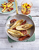 Roasted chicory with bacon and mango salad (low carb)