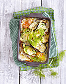 Colourful vegetable gratin with alpine cheese (low carb)