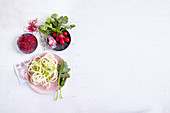 Radishes, beetroot shoots and kohlrabi spirals