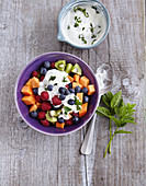 A sweet fruit bowl with mint yoghurt (low carb)