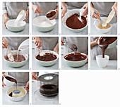A vegan chocolate cake being made