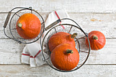 Hokkaido gourds in a wire basket