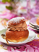 Semla (yeast pastries with chocolate cream, Sweden)