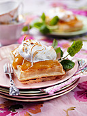 Waffles with lemon curd, meringue and peppermint