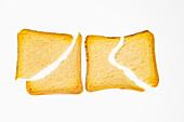 Two slices of zwieback (rusk), broken