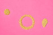 Mood bulgur on a pink surface