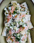 Pasta salad with salmon, dill and lemon mascarpone