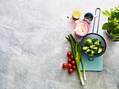 Ingredients for broccoli salad with pecorino