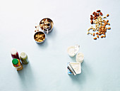 Cereals, dairy products, sauces and seeds
