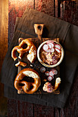 Obatzda (Bavarian cheese spread) with pretzels and radishes