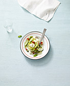 Zucchinisalat mit Tomaten, Mozzarella und Pesto