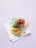 Parmesan chips with tomato salsa