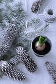 Mit Schneespray besprühte Tannenzweige und -zapfen als Weihnachtsdeko