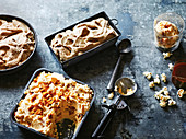Peanut brittle ice cream, Chai ice cream, Coffee ice cream, Peanut brittle ice cream & popcorn sundae