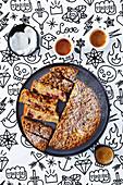 Streuselkuchen mit Nektarinen und Himbeeren