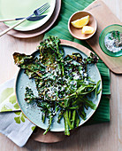 Grilled bitter greens with olive oil and salted cheese