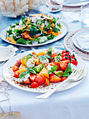 Heirloom tomato, basil and sheep's yoghurt salad and Qualia garden salad