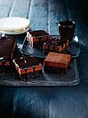 Pistachio, orange and chocolate mousse brownie