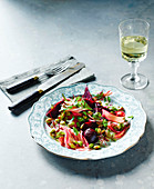 Beetroot, fennel and rhubarb salad