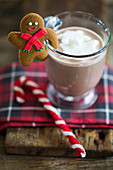 Hot chocolate garnished with a gingerbread man