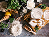 Ingredients for blackcurrant pie