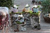 Ungewöhnliche Advents-Dekoration auf der Terrasse