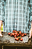 A man holding freshly harvested tomatoes on a wooden plater