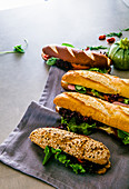Four different baguette sandwiches
