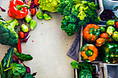 A frame of fresh vegetables (seen from above)