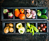 Fresh vegetables in compartments in two wooden boxes (seen from above)