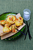 Beer-battered red pine mushrooms
