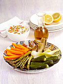 Vegetable platter with a yoghurt dip