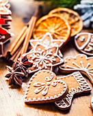 Christmas homemade gingerbread cookies with various decorations