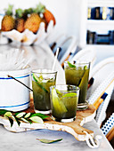 Grilled cucumber and lemon myrtle soda