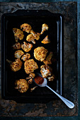 Roasted cauliflower with paprika in bakingtray