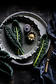 Still life of cavolo nero and sesame seeds
