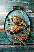 BBQ Roasted Rainbow trout with blood orange sage and fennel