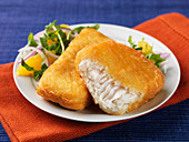 Halibut in batter with a salad side dish
