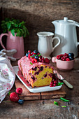 Berry cake with berry glaze