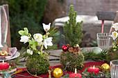 Weihnachtliche Tischdeko auf der Terrasse