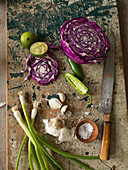 Purple, green and white vegetable